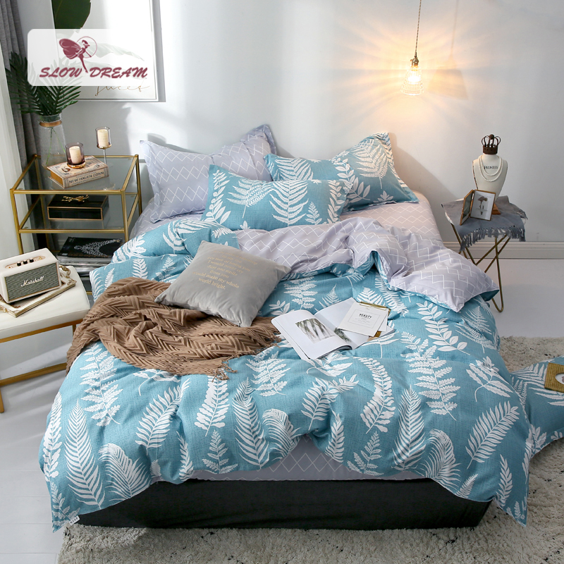 Slowdream Nordic Leaf Bedding Set Duvet Cover Gray Flat Sheet Green Decor Bedclothes Bedspread Pillowcase 3 4pcs Bed Linen Set in Bedding Sets from Home Garden