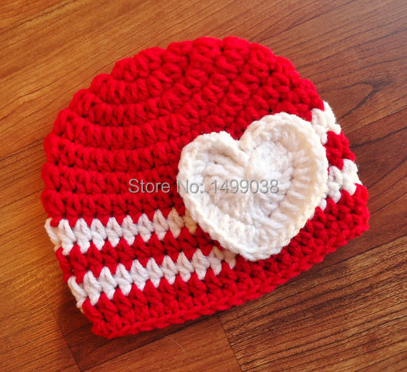 Crocheted Bright Red White Baby Girl Valentine S Day Hat With