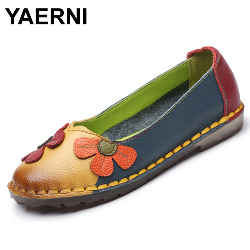 YAERNI Summer Autumn Fashion Flower Design Round Toe Mix Color Flat Shoes Vintage Genuine Leather Women