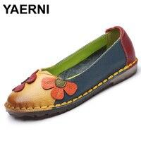 YAERNI Summer Autumn Fashion Flower Design Round Toe Mix Color Flat Shoes Vintage Genuine Leather Women