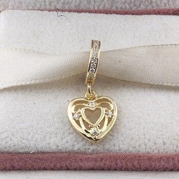 ZMZY Coração CZ Pingente de Cristal da Cor do Ouro Autênticos 925 Esterlina Encantos de Prata Serve Para Pulseira Pandora jóias DIY