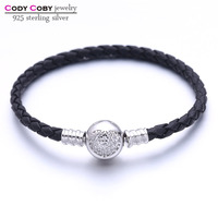 Real Black Leather Snake Chain Bracelet With 925 Sterling Silver Heart Clasp For Women Men berloques pulsera Original Jewelry
