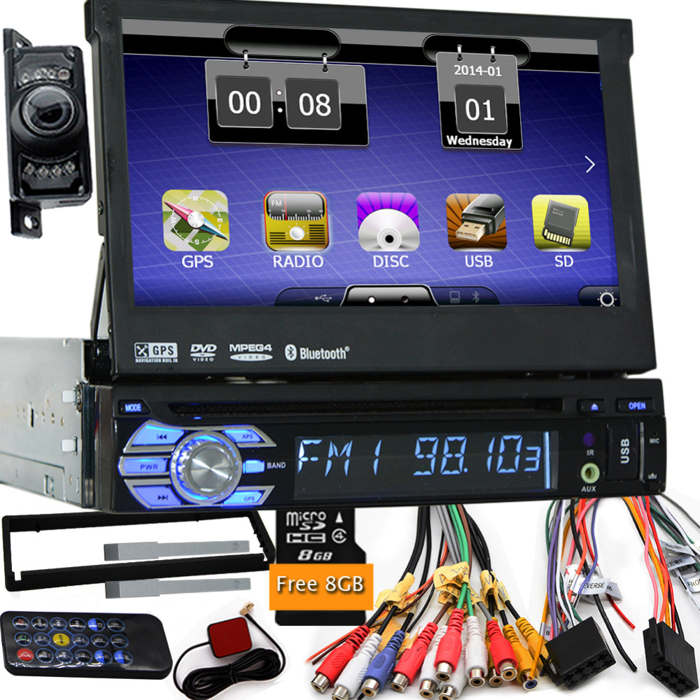 7 Universal 1 Din Voiture Audio Lecteur DVD + Radio + GPS Navigation + Autoradio + Stéréo + Bluetooth + PC + DVD Automobile + SD USB RDS Aux + caméra