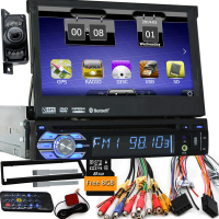 7 Universal 1 Din Car Audio DVD Player+Radio+GPS Navigation+Autoradio+Stereo+Bluetooth+PC+DVD Automotive+SD USB RDS Aux+camera