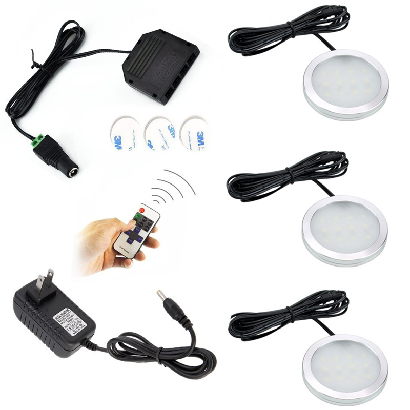 Aliexpress.com : Buy Aiboo Wireless LED Under Cabinet Puck Lights 3 Lamps RF Dimmer and Adapter ...