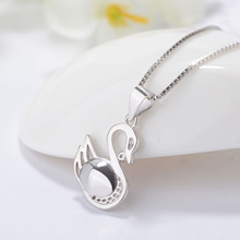 цена Silver Beauty Silver 925 Sterling Silver Necklace Korean Fashion Explosive Swan Micro Inlay Pendant онлайн в 2017 году