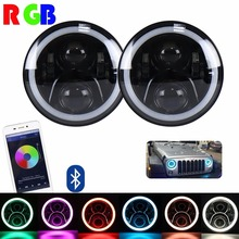 7″ Inch For Jeep Wrangler RGB LED Headlights Halo, Bluetooth App Controlled  (2 Pcs)