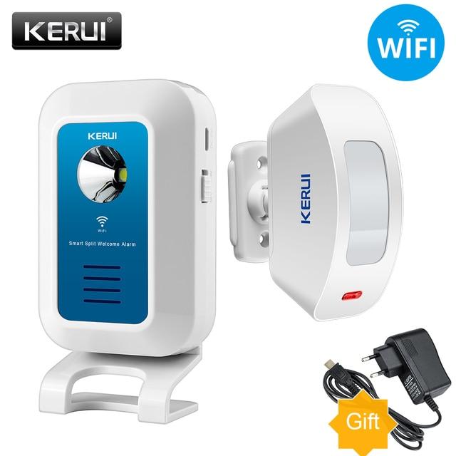 KERUI نظام إنذار لا سلكي 32 نغمات ترحيب/جرس الباب/إنذار/المضيف ضوء الليل والناس تدفق الإحصائية APP التحكم واي فاي الجرس