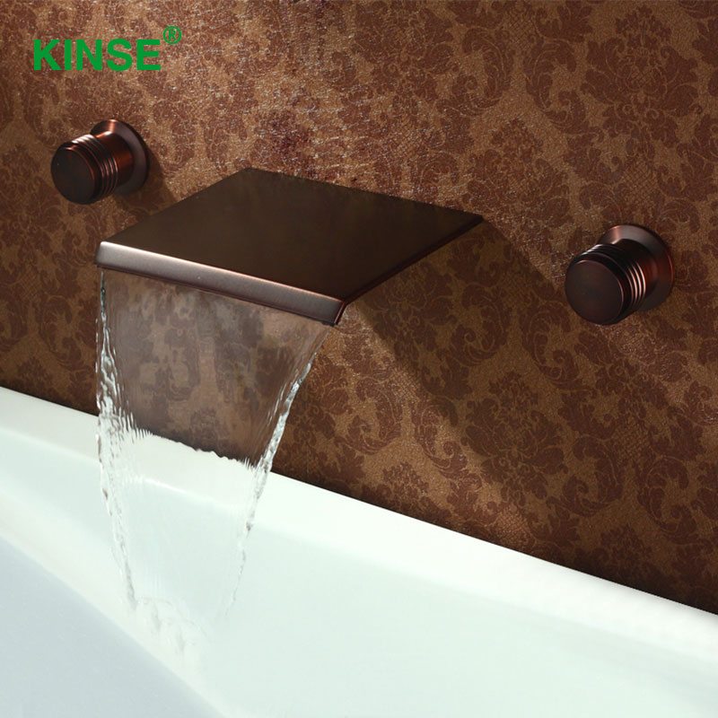 KINSE Contemporary ORB Finish Waterfall Sink Faucet Dual Holder Dual Hole  Wall Mounted Basin Faucet For