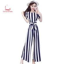 2019 summer new style temperament short sleeve waist show thin vertical stripe jumpsuit women high waist wide leg trousers vertical stripe button detail cami jumpsuit