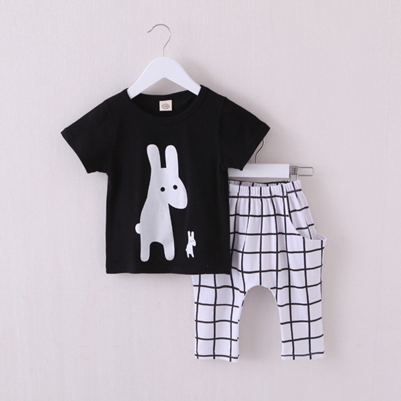 Summer Boys Clothes 2018 New Baby Boy Clothing Set Pattern Rabbit Toddler Boys Clothing Plaid Kids Clothes Children Clothing Set summer boys handsome gentleman suits 2018 summer new baby boy clothes set 1 3 years striped summer children clothing