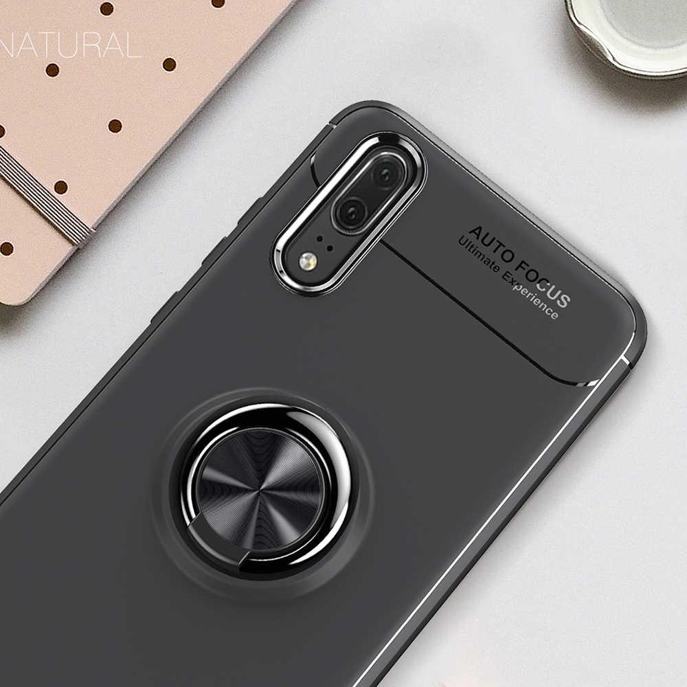 מקרה טלפון בעל טבעת יוקרה עבור Huawei P20 P20 KEYSION פרו רכב מגנטי סטנד רך סיליקון דהוי עבור Huawei P20Pro קאפה