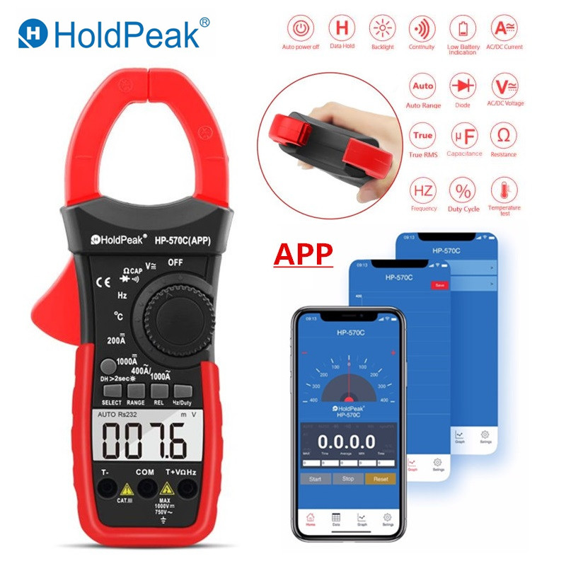 HP-570C APP Digital Clamp Meter Multimeter Capacitance Tester DC/AC Voltage Current Meter Link to Phone APP to Recored Data