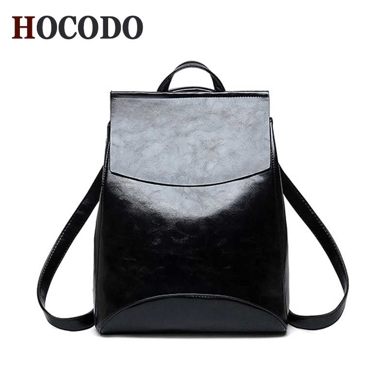 HOCODO Fashion Women Backpack High Quality PU Leather Backpacks for Teenage Girls Female School Shoulder Bag