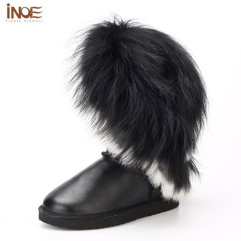 INOE Fashion cow split leather fox fur tassels high big girls white snow boots for women flats winter shoes black waterproof