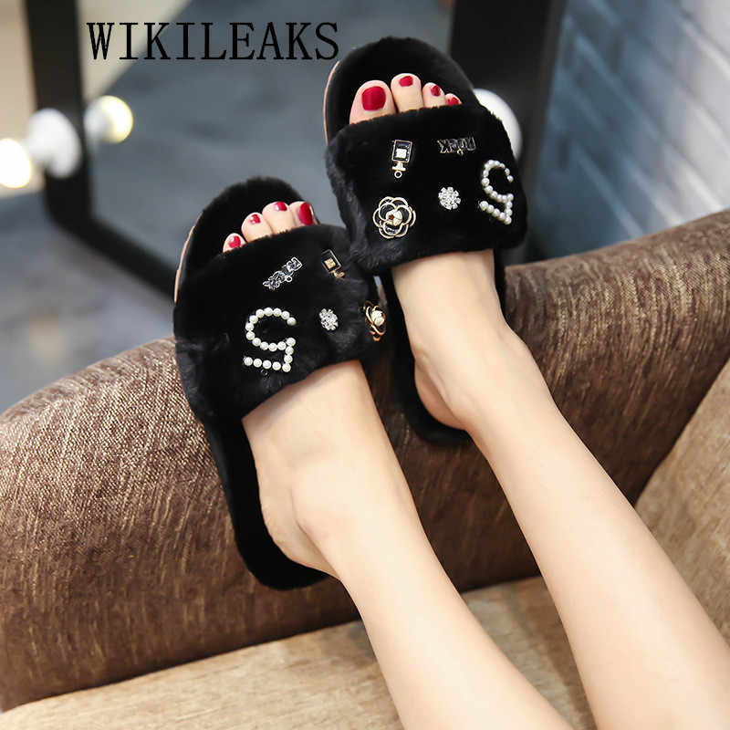 2019 fur slippers women fur sandals perfume decoration ladies shoes luxury shoes women designers pink slides fluffy slippers