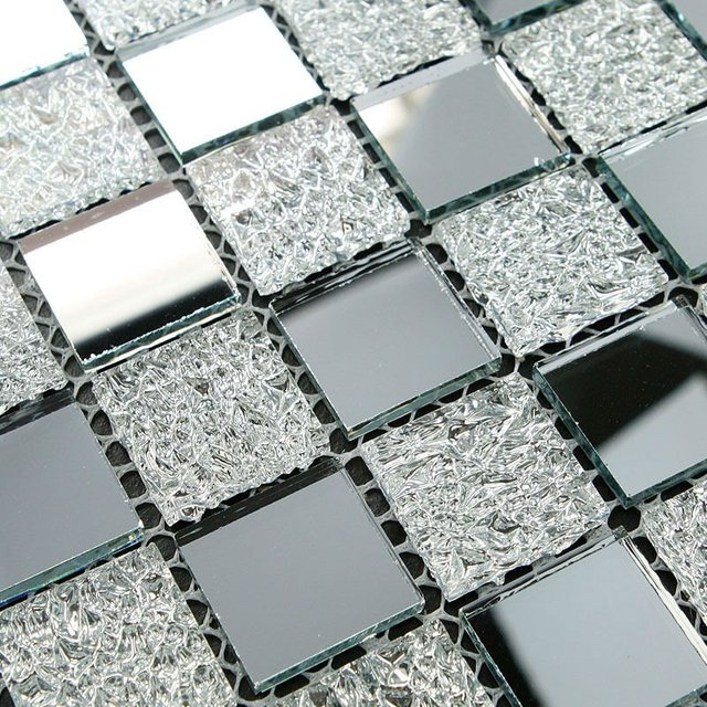 mattonelle di mosaico a specchio argento maglia montato argento ...