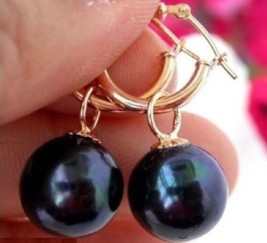 HOT PERFECT ROND 10-11MM TAHITIAN BLACK PEARL EARRING 14K/20 SOLID GOLD petzl demi rond