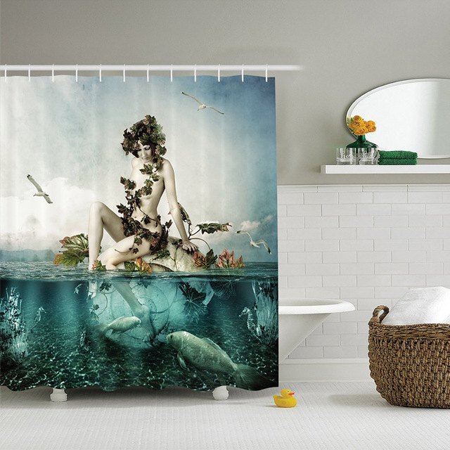 High Quality Electricity Digital Custom Printed Shower Curtain Polyester Waterproof Bathroom Mermaid With 12Hooks