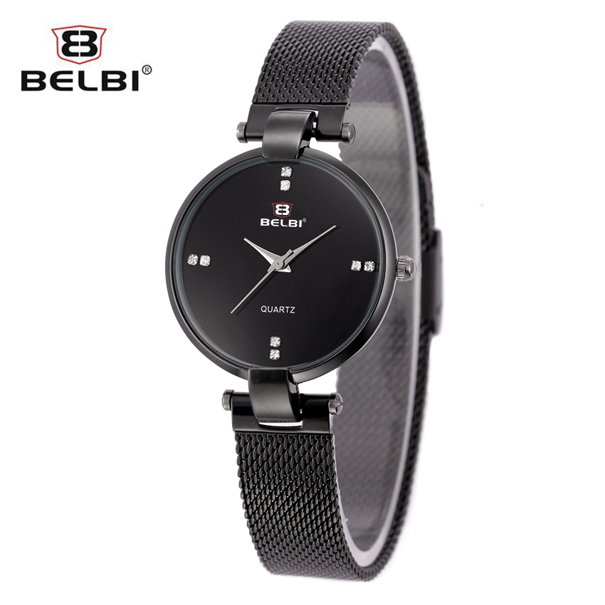 Women Quartz Watch Luxury Brand BELBI Watches Fashion Black Stainless Steel Watches Women Elegant Dress Wristwatch