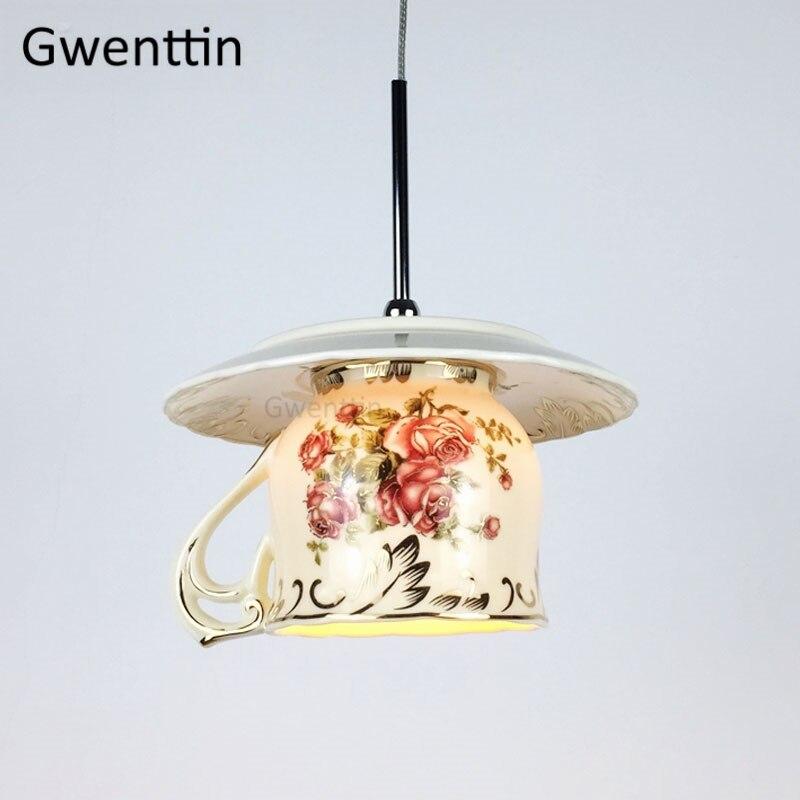 European Style Rose Cup Pendant Lights Led Art Deco Hanglamp Vintage Hanging Lamp For Dining Room Bar Kitchen Lighting Fixtures