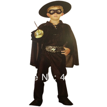 KTLPARTY halloween party dress up baby boy black Zorro costumes with cape mask hat