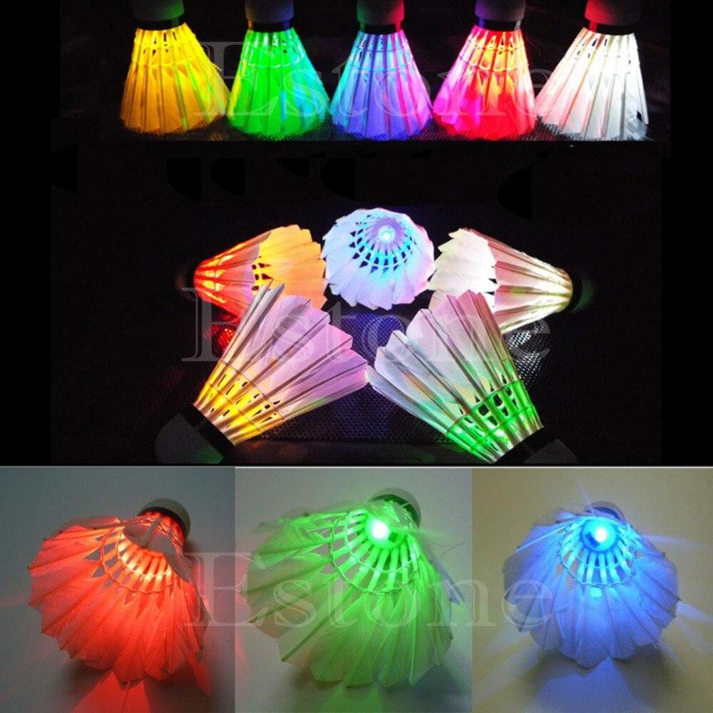 Brand New 4Pcs Lighting Badminton Birdies Dark Night Colorful LED Shuttlecock Racquet Sports