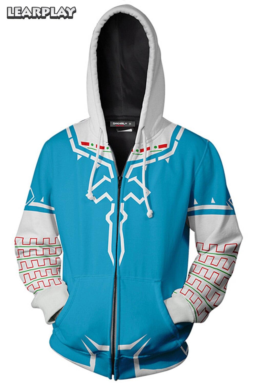La légende de Zelda à capuche jeu Cosplay impression 3D adultes sweat à capuche hommes veste à glissière Hip Hop Streetwear survêtement de sport