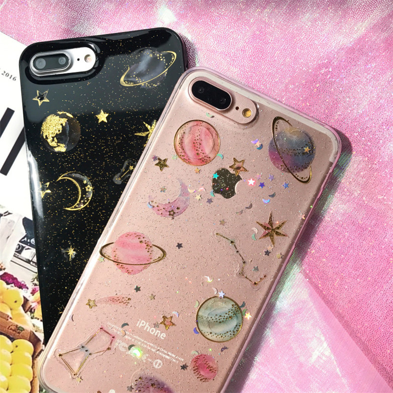 promo code 95757 b90ca US $4.99 |Planet Star Glitter Case Cover for Apple iPhone 7 8 X 7plus Space  Moon Phone Case for iPhone 6s 6 Plus soft Funda capa-in Fitted Cases from  ...