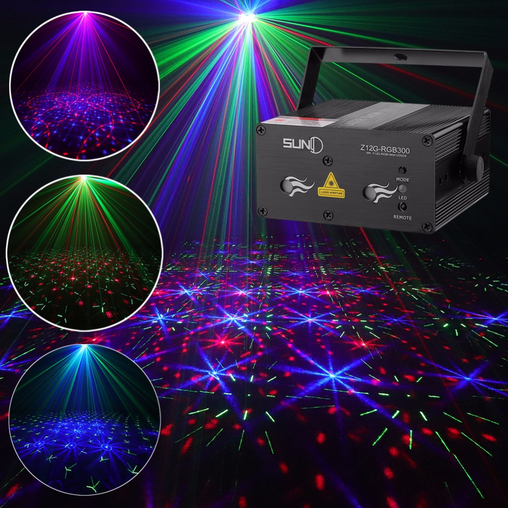 SUNY Sound Activated Xmas Decor Stage Laser Light Mixing RGB Effect Projector Disco DJ Party Lighting Home Show (Z12G-RGB300)