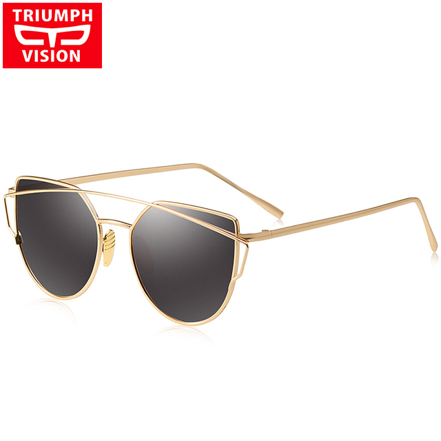TRIUMPH VISION Brand Polarized Sunglasses For Women High Quality Cat Eye Metal Mirror Sun Glasses For Women 2017 Oculos Female