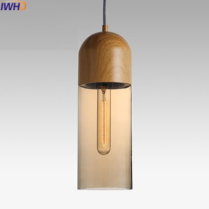 IWHD Glass Led Pendant Lights Modern Brief Wood Hanging Lamp Edison Bulb Light Fixtures Suspension Luminaire Home Lighting встраиваемый светильник lago 357315 novotech 1112634