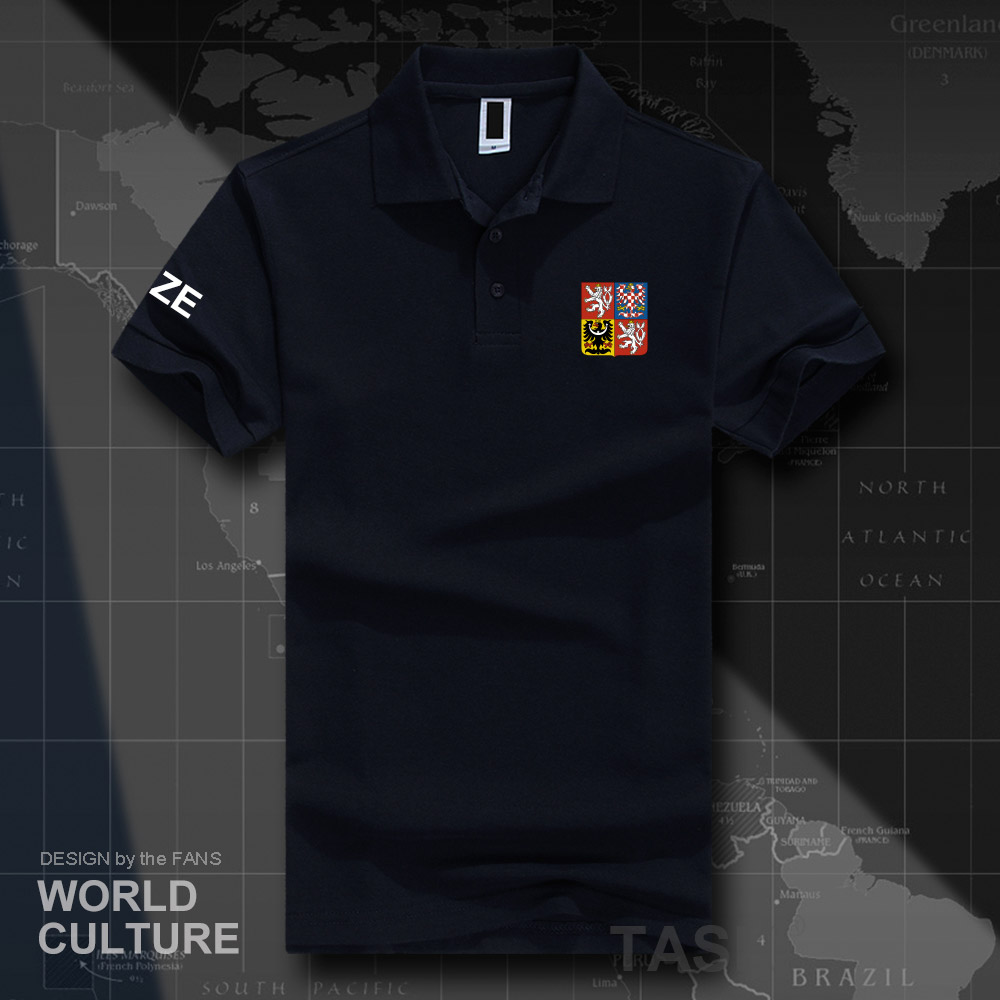 Czech Republic CZE   polo   shirts men short sleeve white brands printed for country 2018 cotton nation emblem new fashion