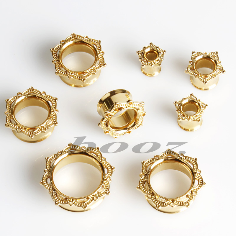 Fashion Ear Plugs Stainless Steel Signle Flared Tunnels Gold Gauges Earrings Body Jewelry Whole In From Accessories On