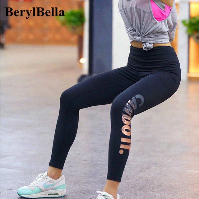 2016 Autumn Winter Women Leggings Fitness Gold Letter Stretch Female High Waist Elastic Pants High Compression Leggings Trousers