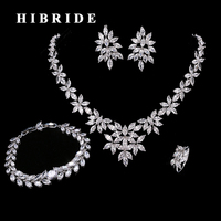 HIBRIDE Luxury Leaf Shape Cubic Zircon Bracelet/Ring/Earring/Necklace Women Jewelry Sets With 4 pieces Wedding Gifts N 206