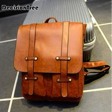 vintage College mens Backpack PU Leather male College Studen
