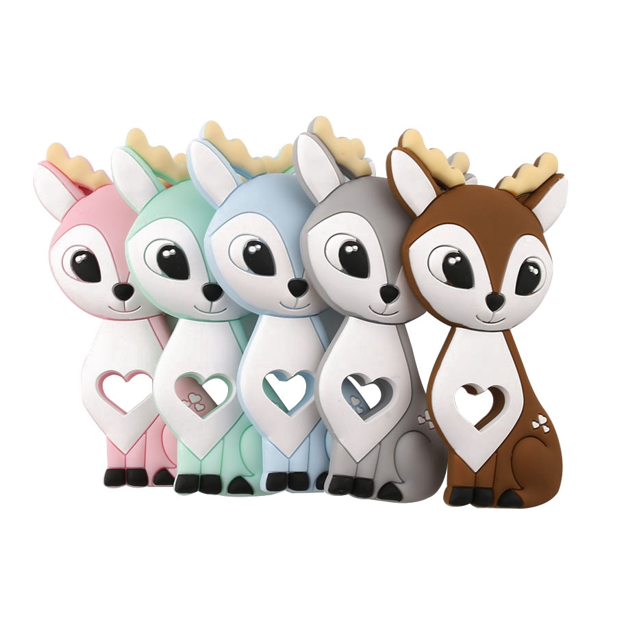 1pc Silicone Animals Cartoon Sika Deer Food Grade Silicone Fawn Pendant Soft Elk Hot Sale Christmas Gifts For Baby Teethers