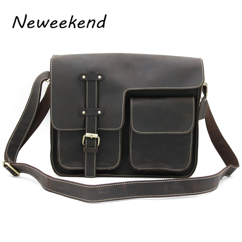 NEWEEKEND 1050 Vintage Casual Genuine Leather Crazy Horse Slight Shoulder Crossbody Messenger  iPad Bag for Man neweekend 1005 vintage genuine leather crazy horse large 4 pockets camera crossbody briefcase handbag laptop ipad bag for man