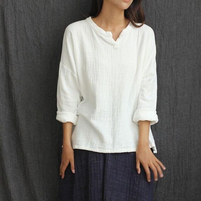 С длинным рукавом v-образным вырезом белье Хлопковая блузка Для женщин Свободные Повседневная рубашка одноцветное Белые блузы китайский стиль Винтаж Рубашки для мальчиков Топы корректирующие C008