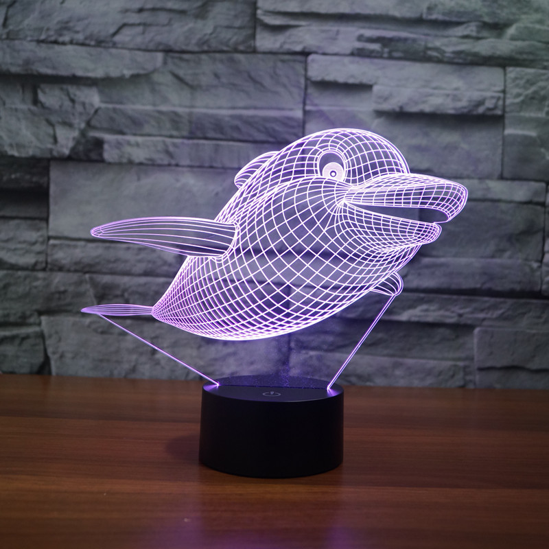 3326 Dolphin Style 2 Porpoise 3D LED Lamp Atmosphere lamp 7 Color Changing Visual illusion LED Decor Lamp