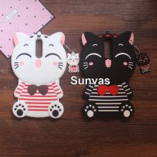 3D Cute Cartoon Striped Lucky Cat Soft Silicone Case Phone Back Cover Skin Shell For Nokia 3 5 6 8