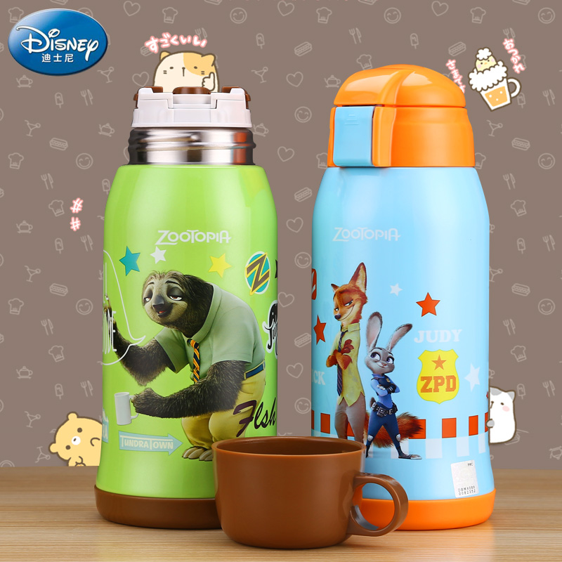 Stainless steel vacuum cup cute Disney children s cartoon creative cup double cover pupil portable pot