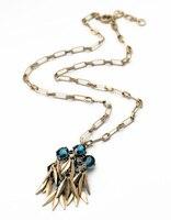 3 Cores Azul Claro Flor De Cristal Vermelho Pingente Neckalce Antigo da Cor do Ouro Longo Colar para As Mulheres Jóias Indiano
