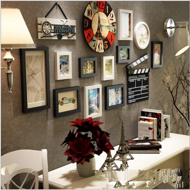11 шт. настенные часы украшения настенные рамки для фото Комбинации набор деревянной стене гостиной Комбинации Винтаж DIY фоторамки