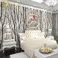 محكم شجرة الغابة غابة خلفيات pvc ورق الحائط لفة ورق الحائط التلفزيون خلفية جدار ديكور المنزل أسود أبيض r13