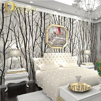 Bosque Bosque Árbol textura Wallpaper PVC Rollo de papel de Pared Para TV de Fondo de Pared Decoración Papel de Pared Negro Blanco R13