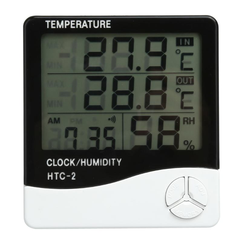 Electronic Thermometer Hygrometer Digital LCD Temperature Humidity Meter Indoor Outdoor Weather Station Tester With Alarm Clock