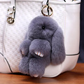 Opshineqo  14 cm Rabbit Hare Rabbit Keychain True Rabbit Fur Key Chain Women Bag Charms or Car Pendant Keychain