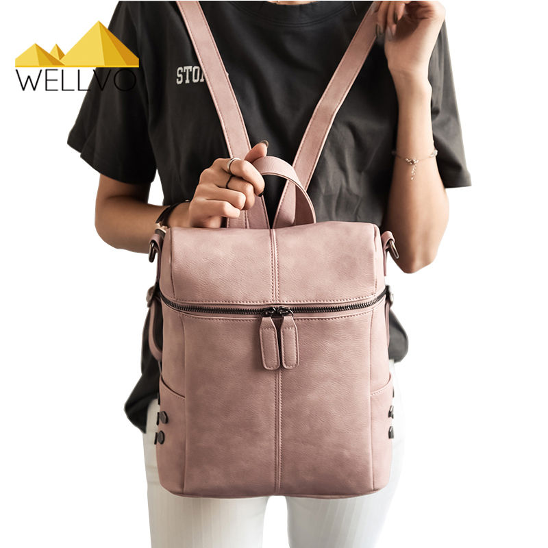 Simple Style Backpack Women PU leather School Bag For Teenage Girls Fashion Vintage Small Black Rucksack Rivets Mochila XA1698C цена и фото